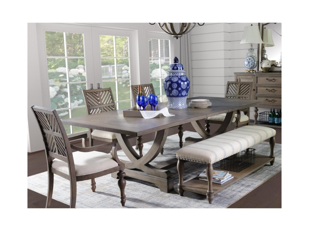 Legends Furniture Laurel GroveTrestle Table and Chair Set with Bench