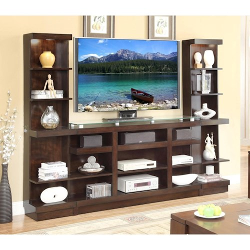 Legends Furniture Novella Entertainment Wall Console with Bookcase Piers