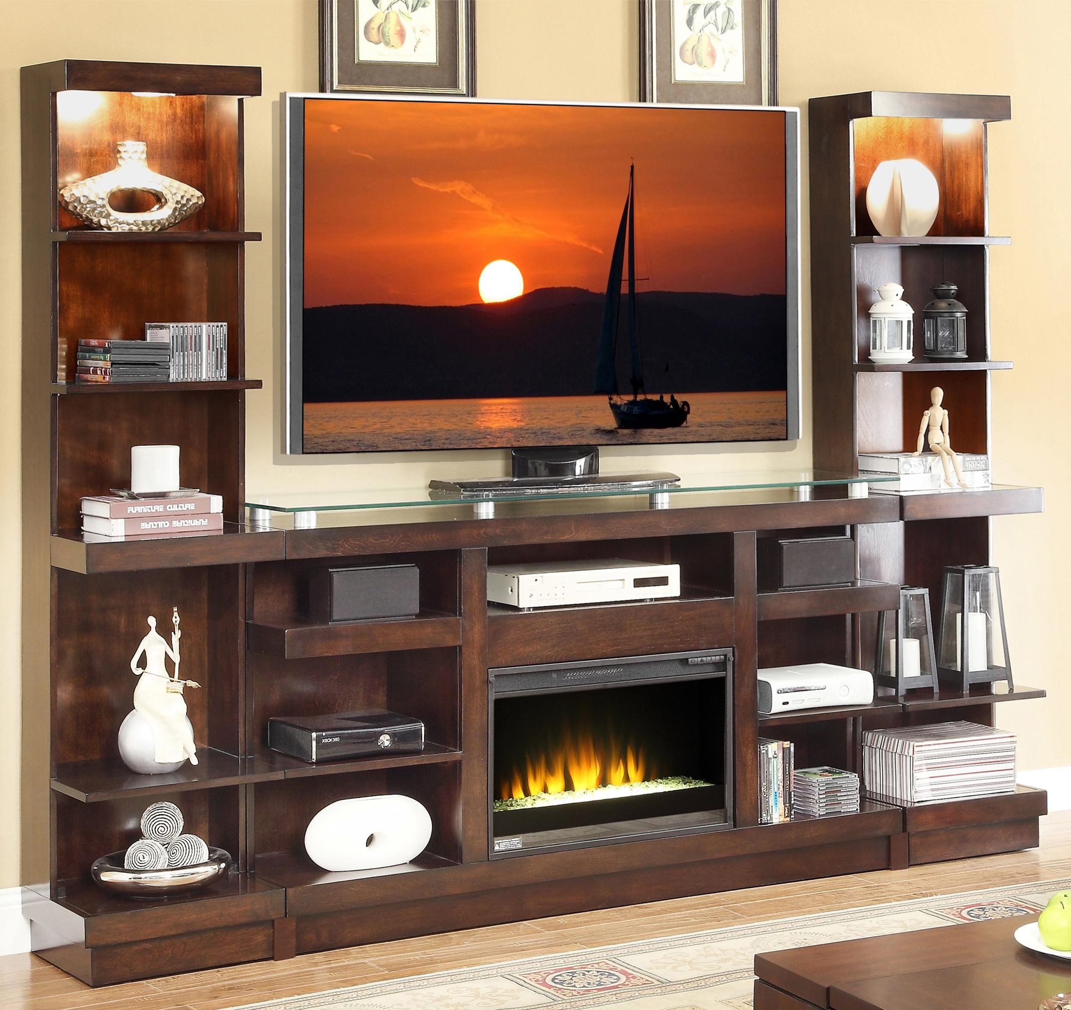 Legends Furniture Novella Entertainment Center With Fireplace And Bookcase  Piers