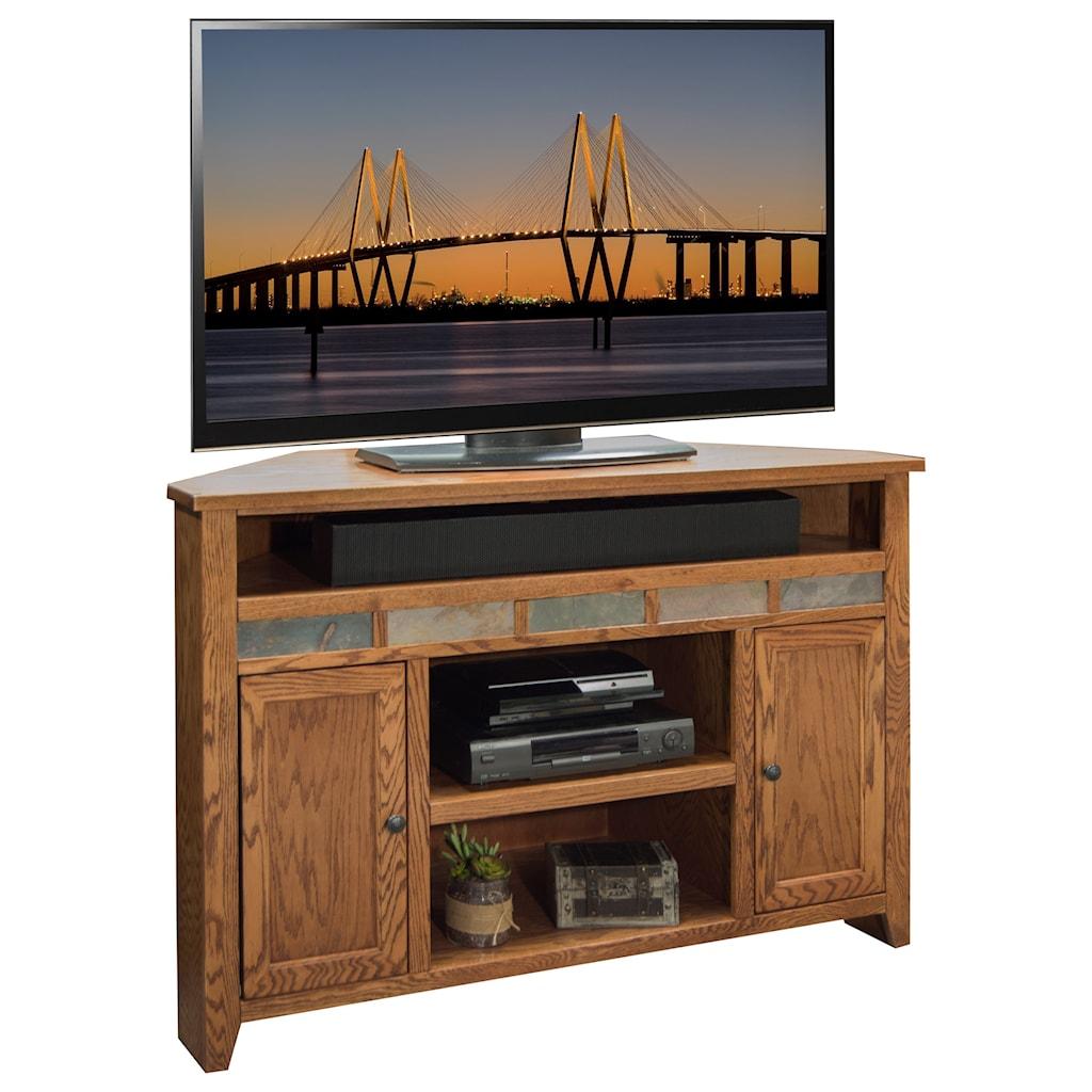 Legends Furniture Oak Creek 56 Corner Tv Cart With Media Shelves