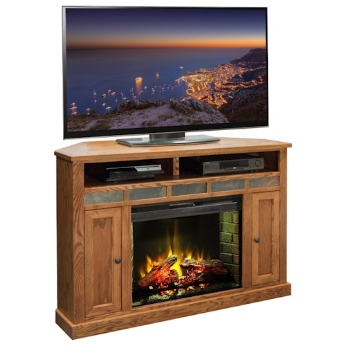 Legends Furniture Oak Creek 56 Inch Corner Fireplace Media Center Boulevard Home Furnishings