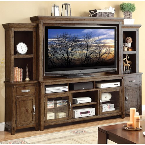Legends Furniture Restoration Large Rustic Casual Wall Unit with Two Piers