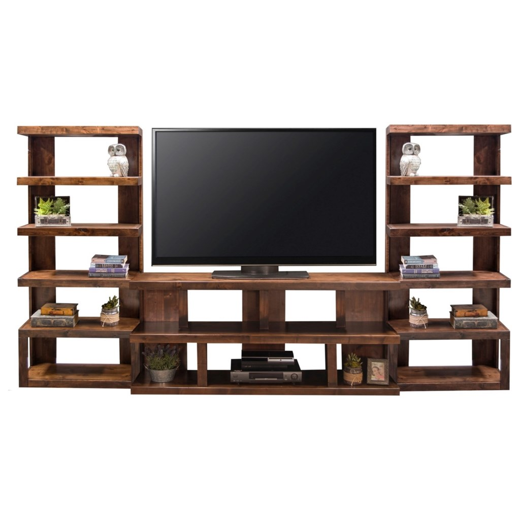 Sausalito modern entertainment wall unit with 14 shelf areas by legends furniture