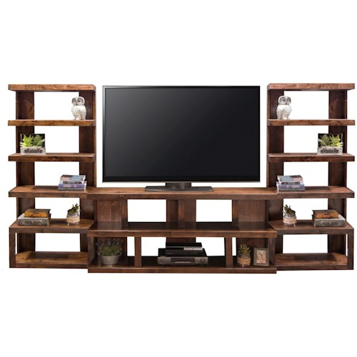 Legends Furniture Sausalito Modern Entertainment Wall Unit with 14 Shelf Areas