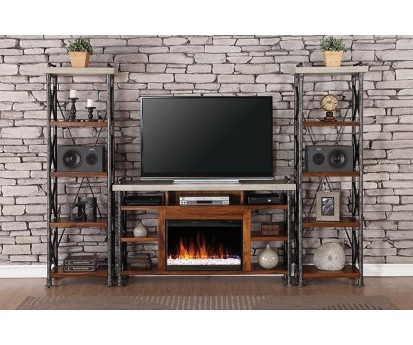 Legends Furniture Steampunk CollectionIndustrial Fireplace Entertainment Unit