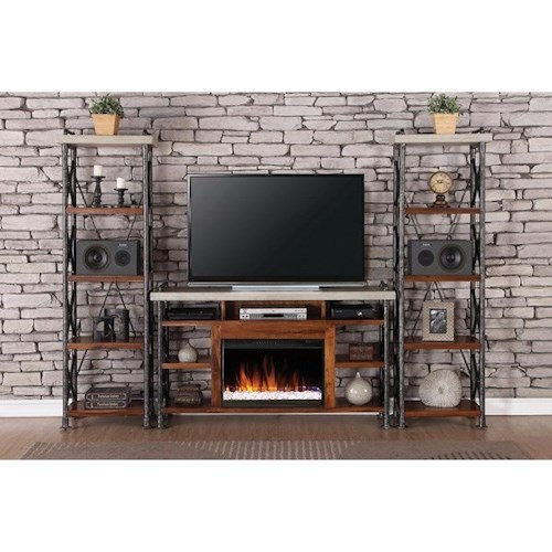 Legends Furniture Steampunk Collection Industrial Fireplace Entertainment Unit with 15 Shelves