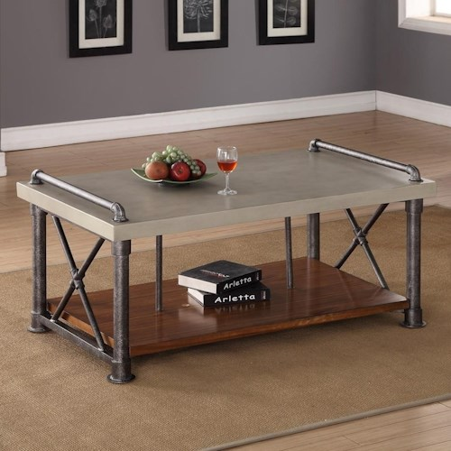 Legends Furniture Steampunk Collection Coffee Table With Shelf