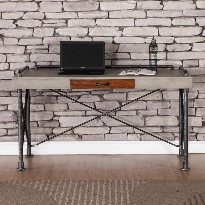 legends furniture steampunk collection steampunk writing desk with faux concrete top furniture table desks