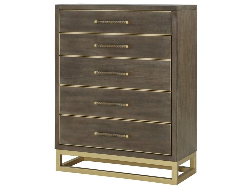 Tango Contemporary Chest Of Drawers With Br Metal Base By Legends Furniture