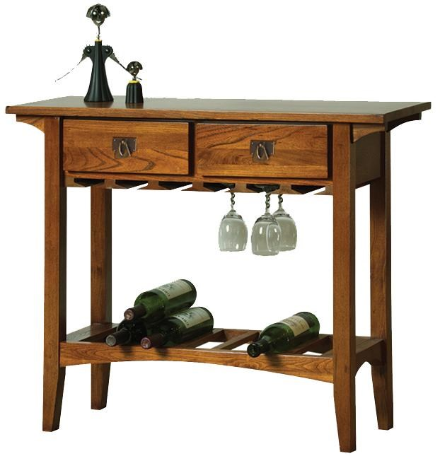leick furniture favorite finds 9061rs 2 drawer mission wine stand - Leick Furniture