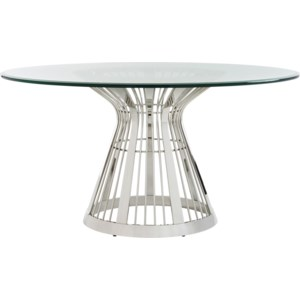 Lexington Ariana Riviera Stainless Dining Table Base With 60 Inch Glass Top Belfort Furniture Dining Tables