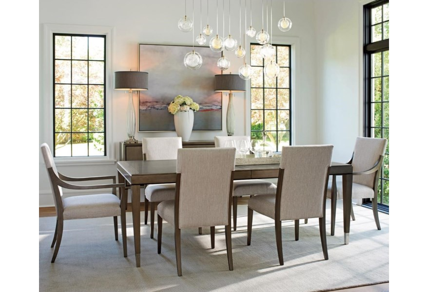 Lexington Ariana Seven Piece Contemporary Dining Set With Chateau Table And Saverne Chairs Belfort Furniture Dining 7 Or More Piece Sets