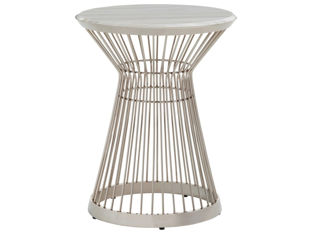 Lexington Ariana Martini Stainless Chair Side Table with Marble Top -  Baer's Furniture - End Tables
