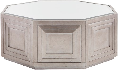 Lexington Ariana Rochelle Octagonal Cocktail Table with Silver Leaf and Mirrored Top