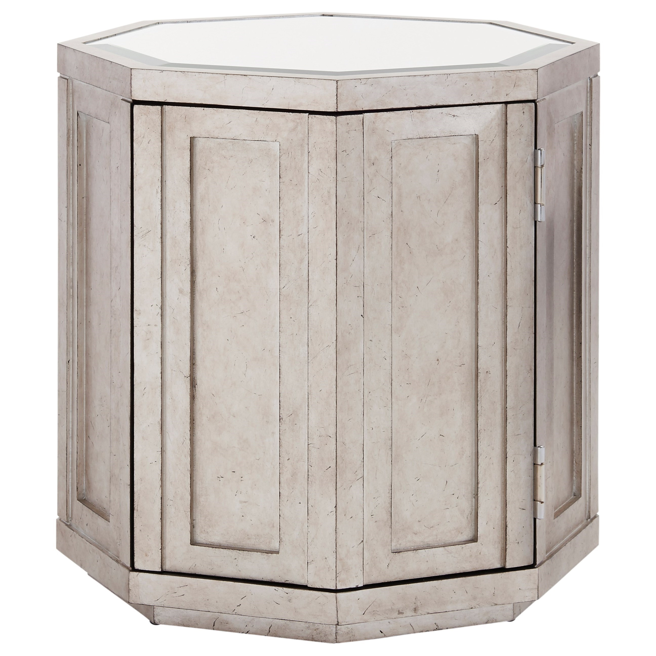 Rochelle Octagonal Storage Table with Silver Leaf and Mirrored Top