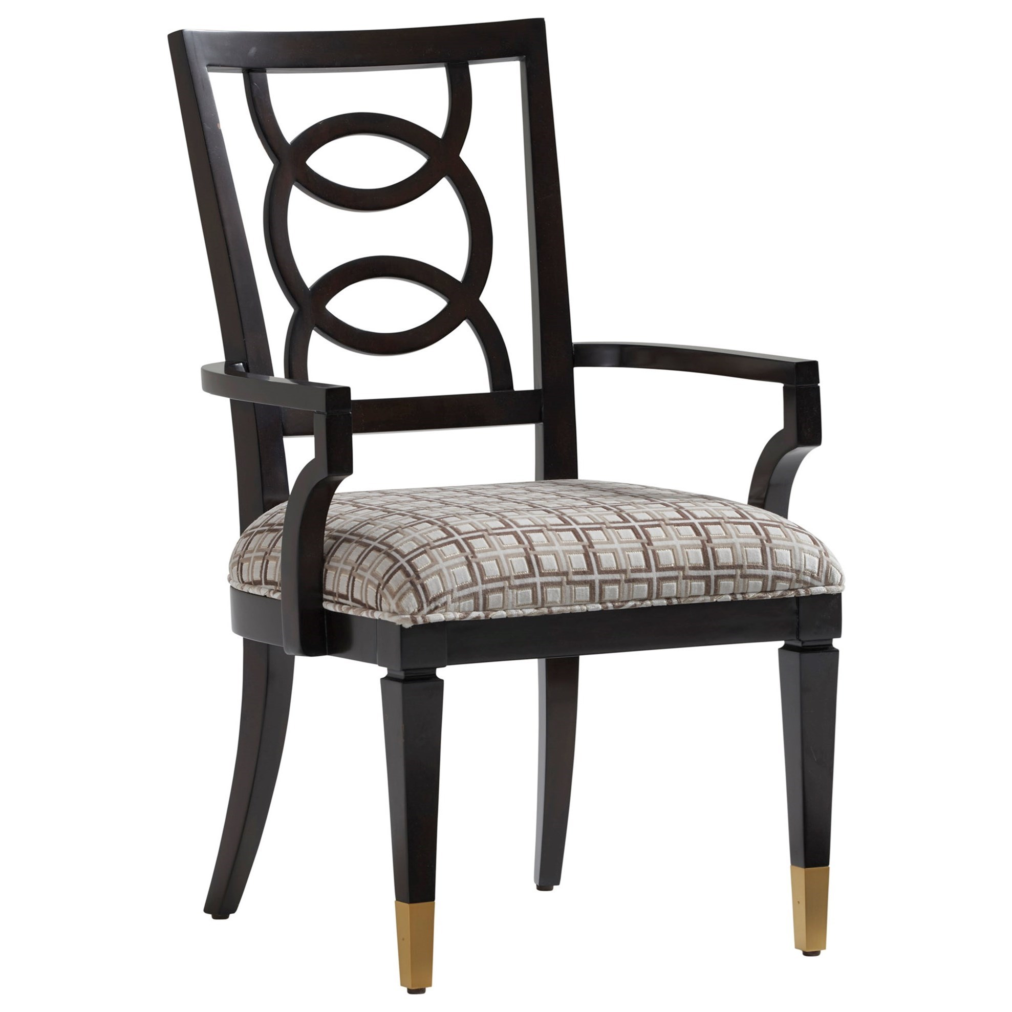 Pierce Arm Chair with Ring Splat Back and Upholstered Seat, Customizable Fabric