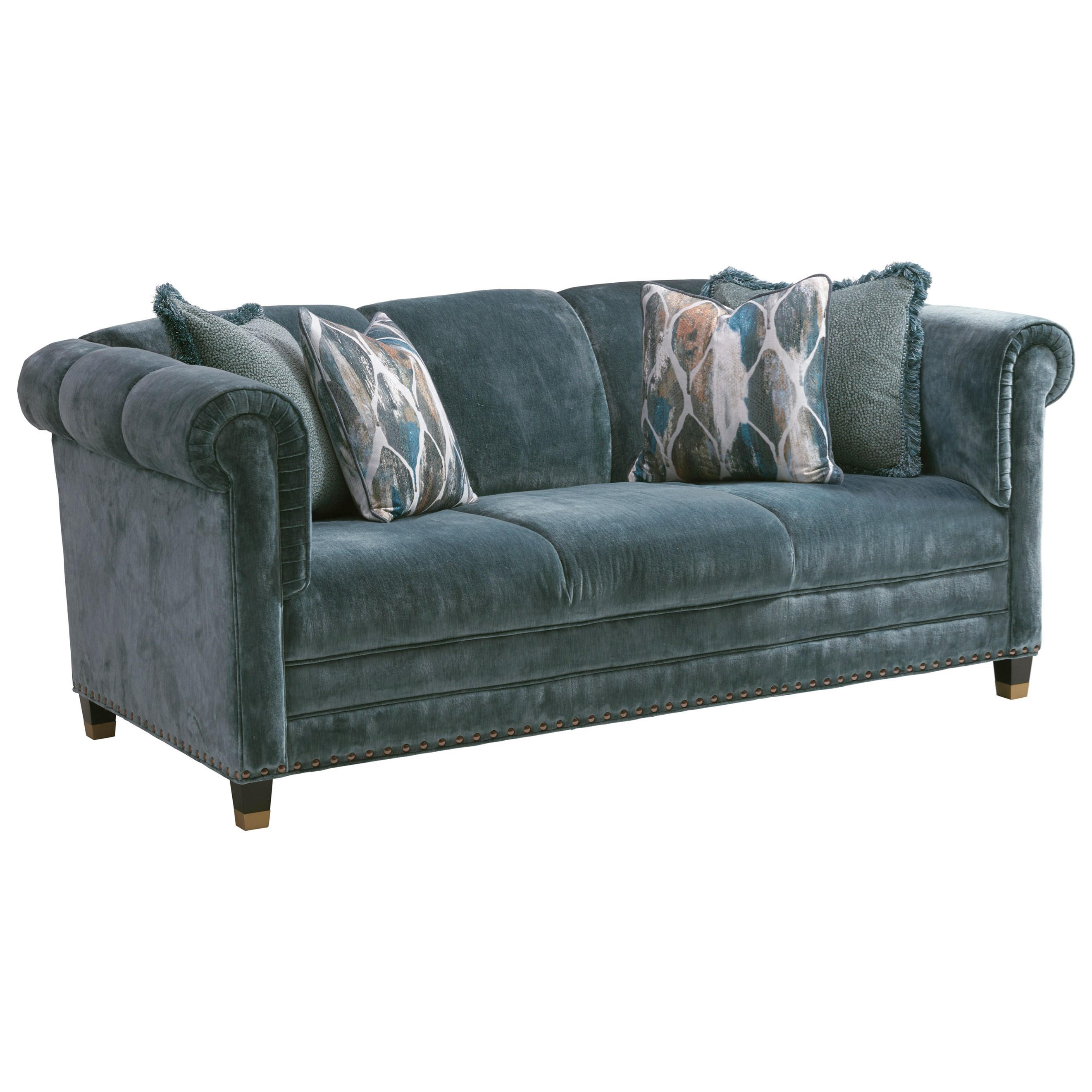 Springfield Apartment Sofa with Nailheads and Ferrules