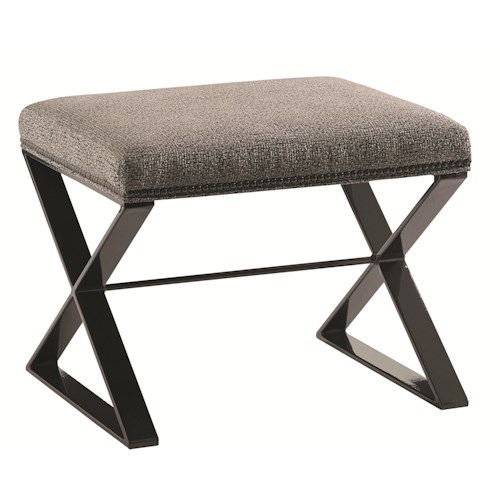 Lexington Carrera Lola Bench with Contemporary Metal Base and Nailhead Trim