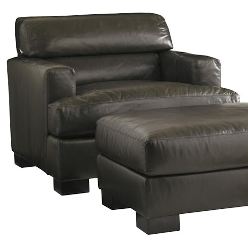 Lexington Carrera Toscana Leather Chair with Bustle Back Cushion