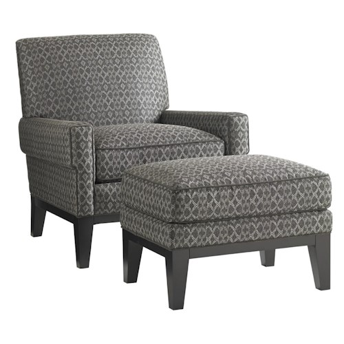 Lexington Carrera Giovanni Chair and Ottoman Set with Exposed Wood Base