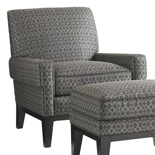 Lexington Carrera Giovanni Chair with Square-Rolled Arms and Exposed Wood Base