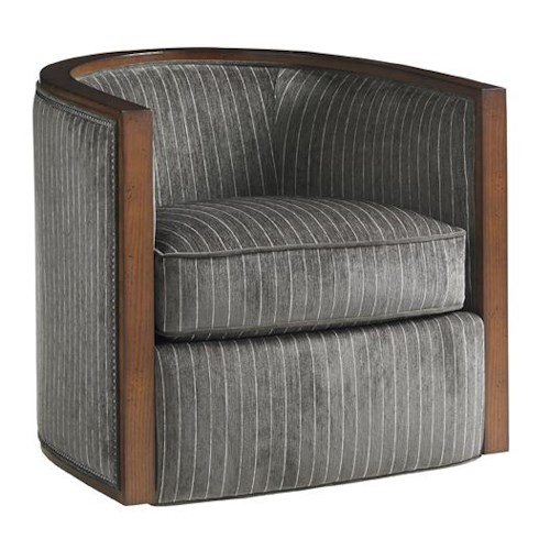 Lexington Carrera Palermo Swivel Chair with Exposed Wood and Nailhead Trim