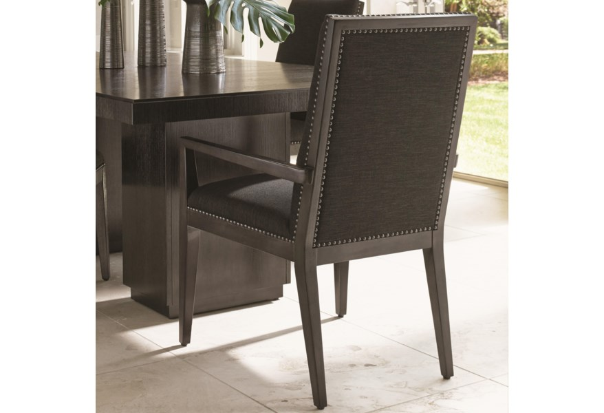 Lexington Carrera Vantage Quickship Upholstered Arm Chair With Gray Mist Fabric And Nailhead Studs Belfort Furniture Dining Arm Chairs