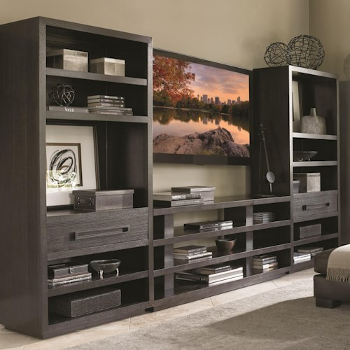 Lexington Carrera Entertainment Wall Unit with Elise Console Table and Adjustable Shelving in Bookcases