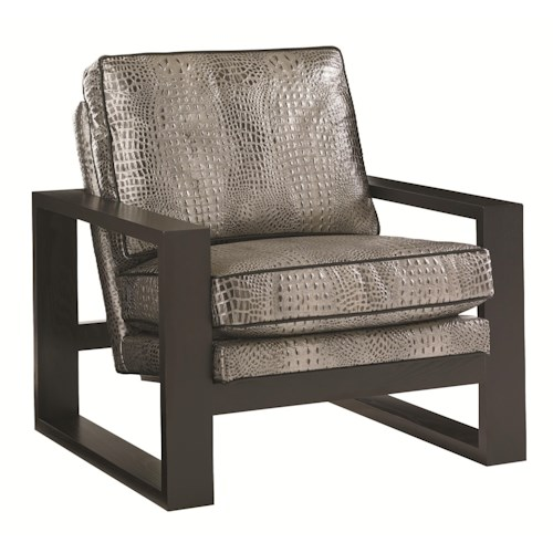 Lexington Carrera Axis Croc Embossed Leather Chair with Exposed Wood