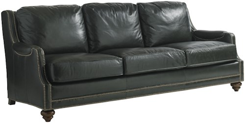 Lexington Coventry Hills Quickship Alcot Leather Sofa with Nailhead Border
