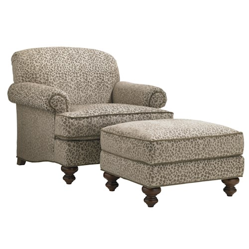 Lexington Coventry Hills Asbury Chair and Ottoman Set with Rolled Arms and Tight Back