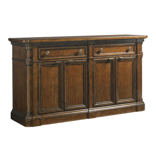 Lexington Coventry Hills Hampton Buffet with Carved Pilasters and Silverware Storage