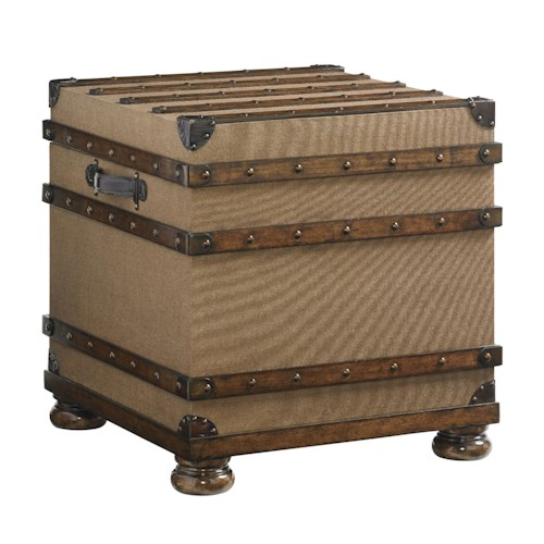 Lexington Coventry Hills Woodbury Natural Jute and Leather Campaign Trunk