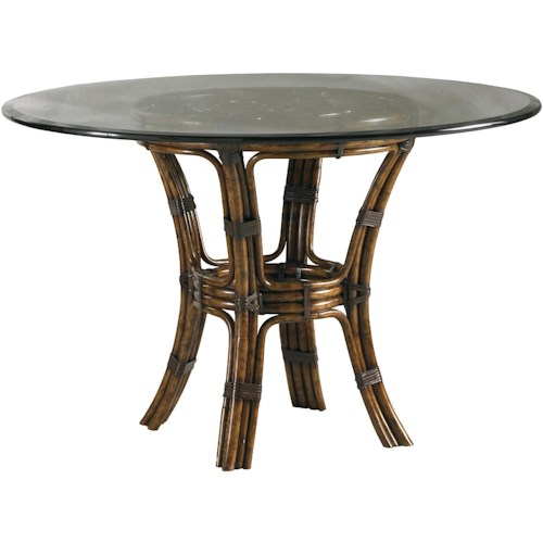 Lexington Henry Link Trading Co Barbosa Dining Table with 48-Inch Round Glass Top & Leather-Wrapped Rattan Base