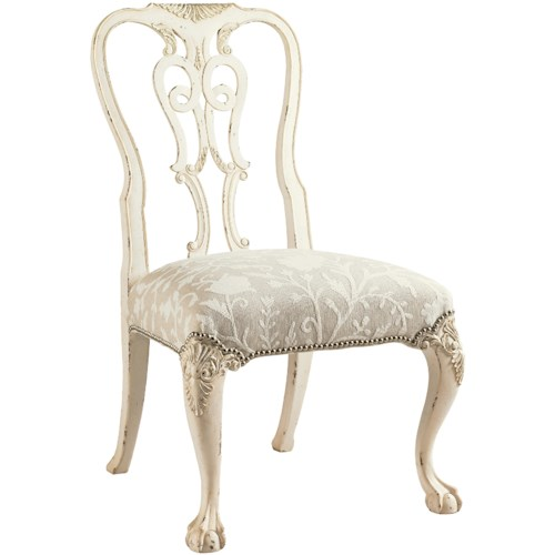 Lexington Henry Link Trading Co Oxford Square Queen Anne Dining Side Chair with Ball-and-Claw Feet in White Scale Finish