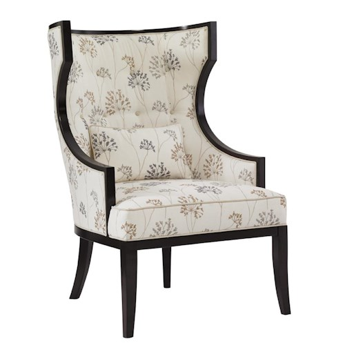 Lexington Kensington Place Transitional Dover Wing Chair with Exposed Wood Trim