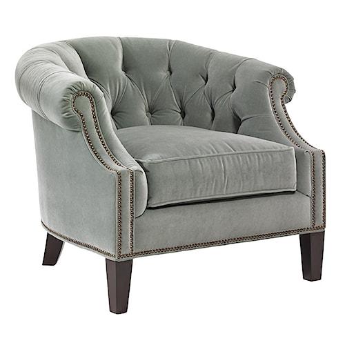 Lexington Kensington Place Transitional Kendrick Button-Tufted Club Chair with Nailheads