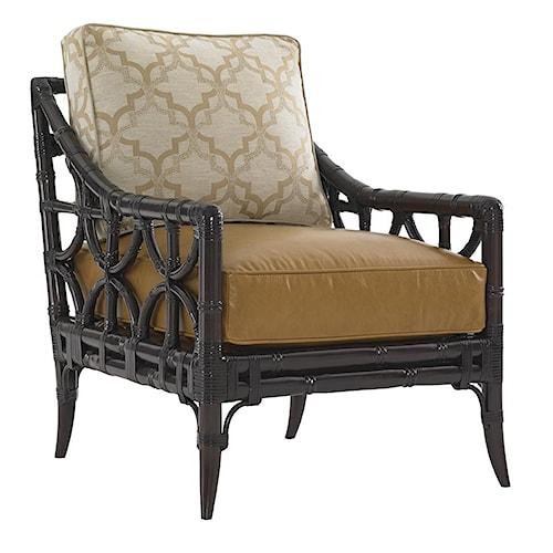 Lexington Kensington Place Eldridge Accent Chair with Leather-Wrapped Rattan Frame