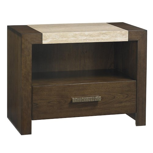Lexington LAUREL CANYON Graysby Night Table with Touch Lighting and Travertine Top