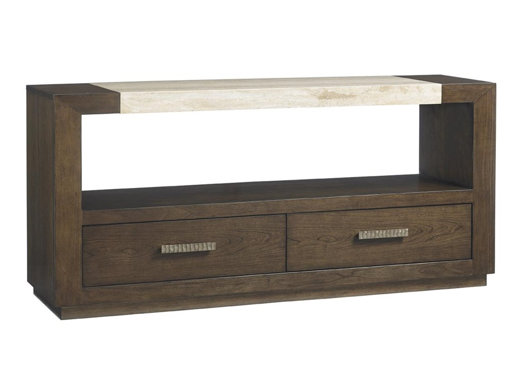 Lexington LAUREL CANYON Estrada Dining Console with Travertine Top ...