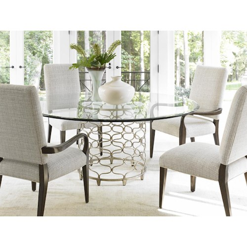Lexington LAUREL CANYON Five Piece Dining Set with Bollinger Table and Married Fabric Chairs