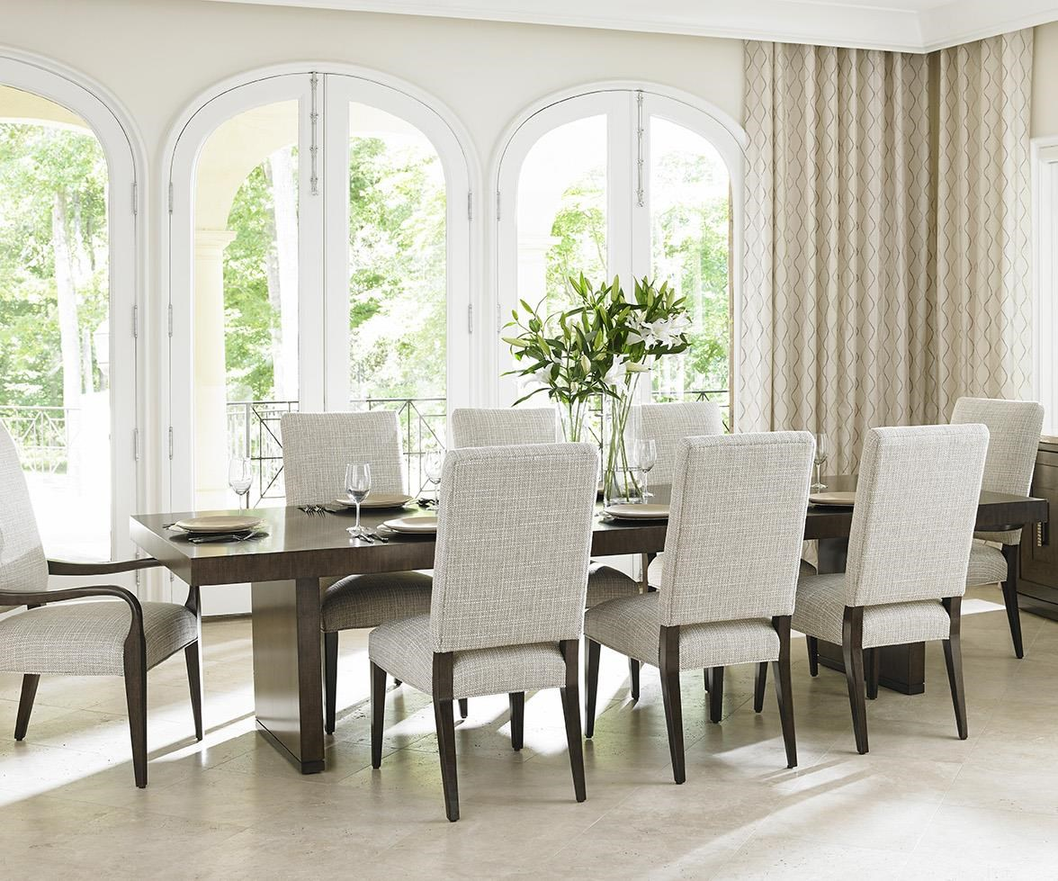 Lexington LAUREL CANYON Nine Piece Dining Set With San Lorenzo Table And  Married Fabric Sierra Chairs