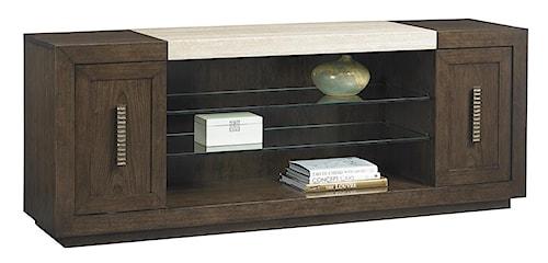 Lexington LAUREL CANYON Malibu Vista Media Console with Travertine Top and Adjustable Glass Display Shelves
