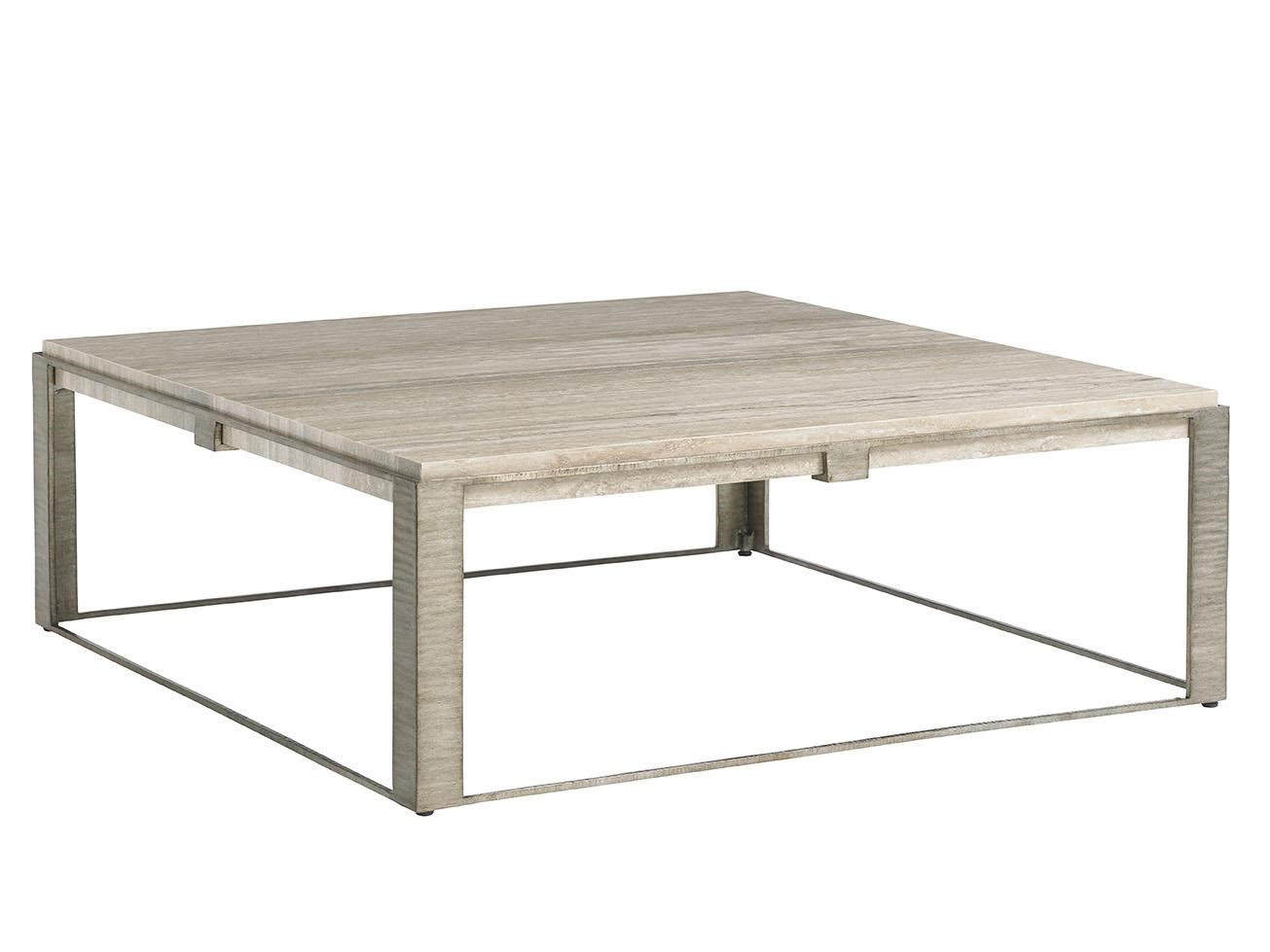 Lexington LAUREL CANYON Stone Canyon Cocktail Table With Silver Travertine  Top   Becker Furniture World   Cocktail/Coffee Tables