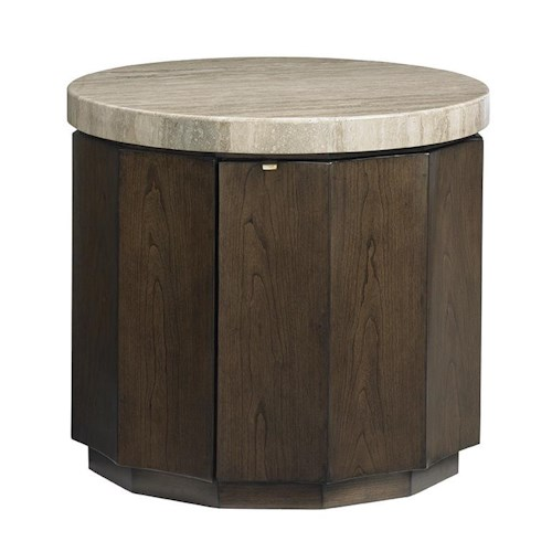 Lexington LAUREL CANYON Glendora Drum Table with Travertine Top