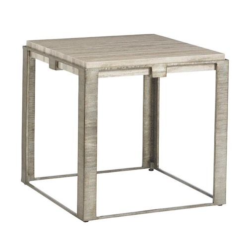 Lexington LAUREL CANYON Stone Canyon Lamp Table with Silver Travertine Top