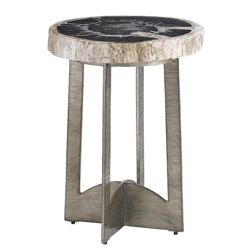 Lexington LAUREL CANYON Cross Creek Petrified Wood Table with Burnished Silver Base