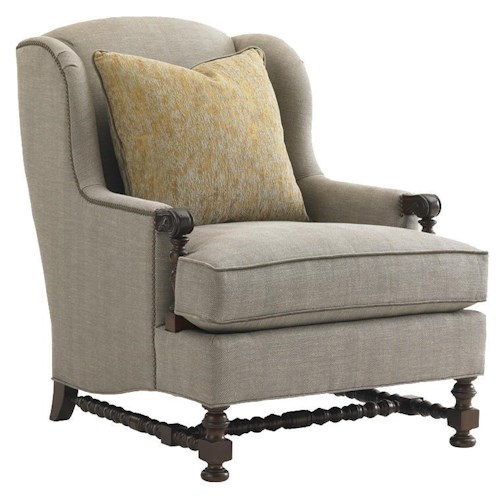 Lexington Lexington Upholstery Bradbury Chair with Wing Back and Turned Legs