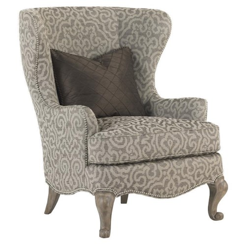 Lexington Lexington Upholstery Chapelle Wing Chair with Queen Anne Legs