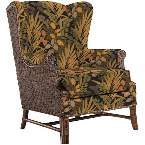 Lexington Lexington Upholstery Customizable Sanctuary Fabric-Upholstered Wing Chair with Woven Rattan Back & Old Brass Nailhead Trim